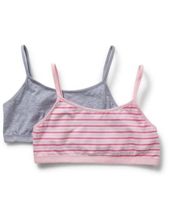 Girls 2pk Plain And Stripe Crop Top (8-14)