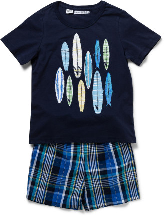 Boys Knit Tee And Check Woven Short