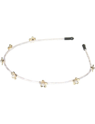 Pearl Flower Ribbon Wrapped Thin Alice Band