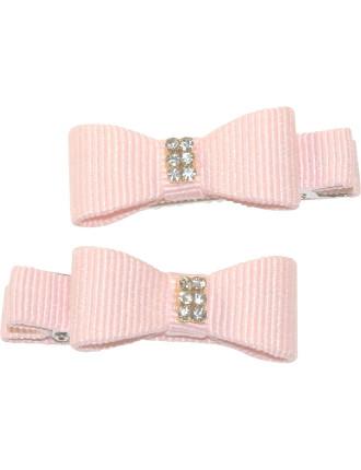 Grosgrain & Diamante Small Hard Bow Clips