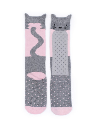 Candy Kitty, Pink & Grey 1 Pair