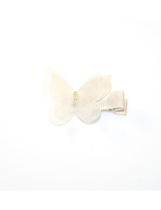 Chiffon Pearl Butterfly Clip