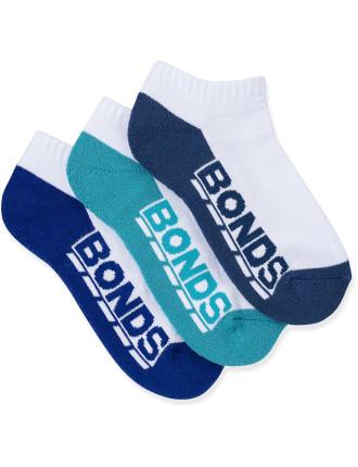 Bonds Logo Lowcut Socks 3pk