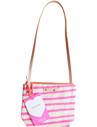 Canvas 'Love' Bag - Pink Stripes