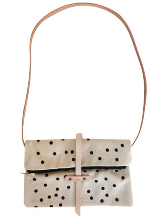 Canvas Foldover  'Love' Bag - Mini Gold Dots