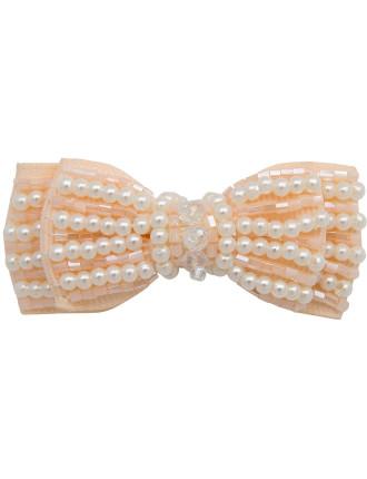 Peaches & Cream Mini Bow Clip
