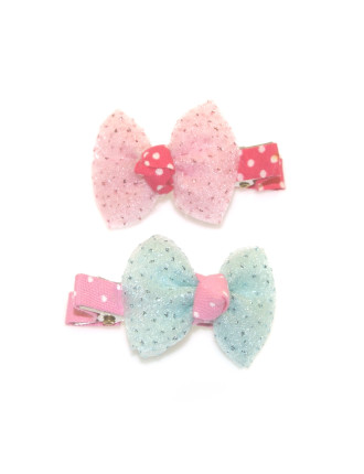 SPARKLE CHIFFON BOW SMALL CLIPS