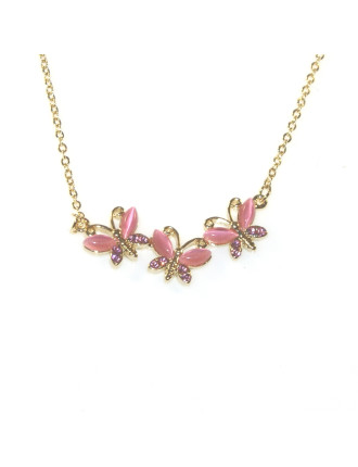 THREE BUTTERFLIES STONE NECKLACE