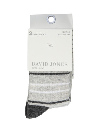 BOYS 2PK STRIPE SOLID SOCK