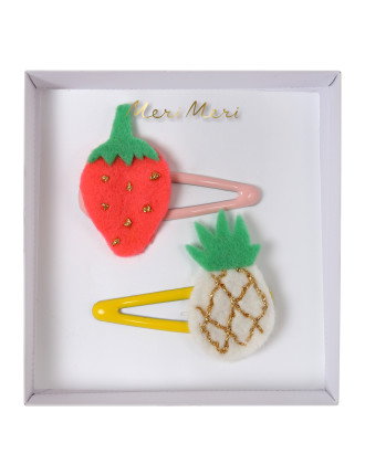 PINEAPPLE & STRAW HAIR CLIPS