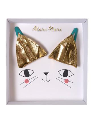 CAT EAR GOLD HAIR CLIPS