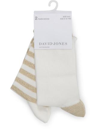 2Pk Sparkle Spot Stripe Socks