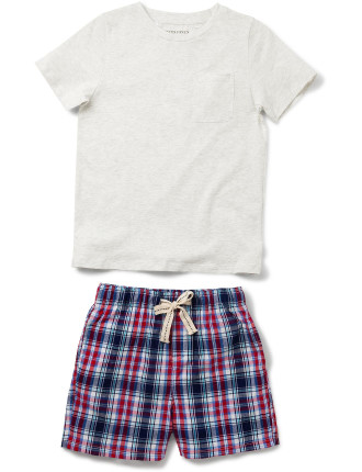Boys Red Check Pj Set
