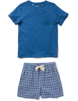 Boys Denim Check Pj Set