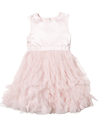 Bow Back Tulle And Sateen Dress