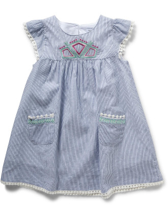 Girls Embroidered Ticking Dress