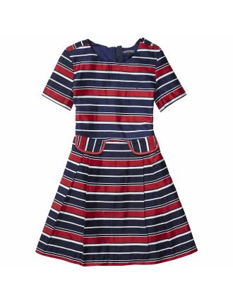 Striped Cotton Sateen Dress S/S