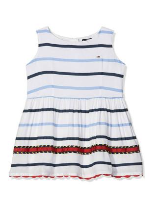 Embellished Rayon Stripe Dress Slvls