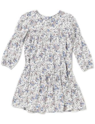 Tiered L/S Print Dress