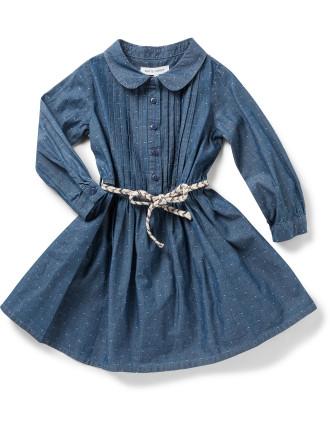 L/S Dobby Chambray Dress