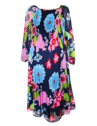 Printed Flower Pleat Chiffon Dress