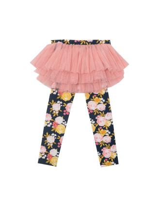 Painted Garden Tulle Skirt Legging