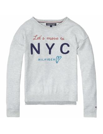 Girls Rib Front Cn  Sweater L/S