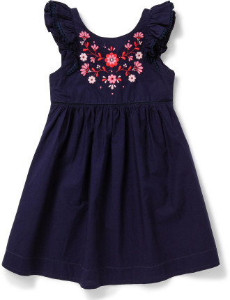 Embroidered Ruffle Dress (3-7 Years)