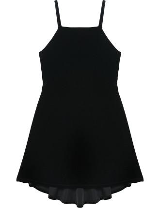 Hi-Lo Velvet Skater Dress