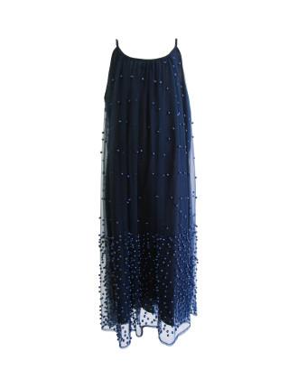Navy Beaded Dress (8-14 Years)