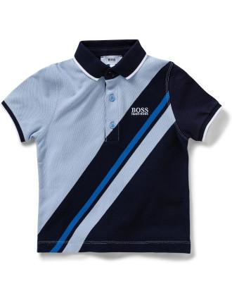 Boys Short Sleeve Banner Stripe Polo