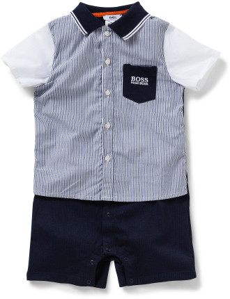 Boys Short Sleeve Romper With Collar