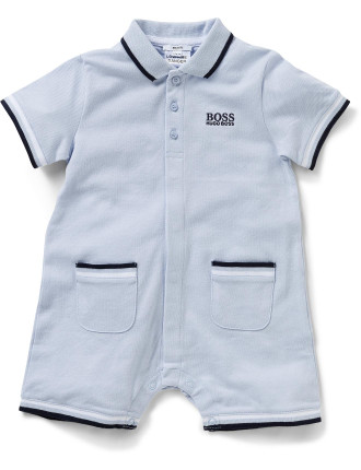 Boys Pique Romper With Collar
