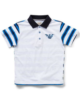 Boys Striped Short Sleeve Polo With Logo