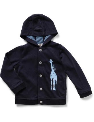 Boys Long Sleeve Hood Sweat With Giraffe Print