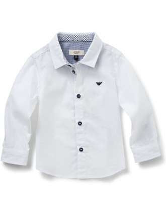 Boys Long Sleeve Woven Shirt With Logo