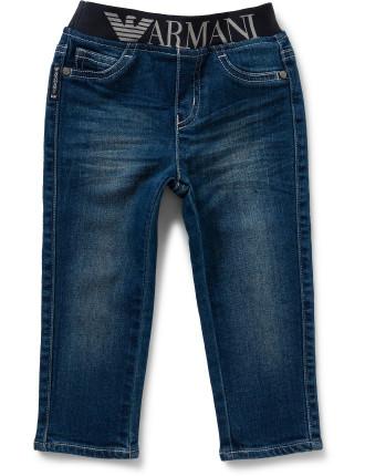Boys Logo Trim Pull On Jeans