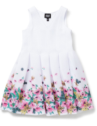 Girls Flared Dress With Floral Border