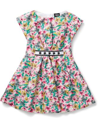 Girls Print Dress With Diamonte Detail