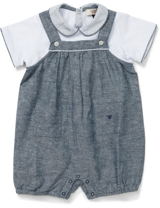 Boys Woven Short Sleeve Overall With Shirt