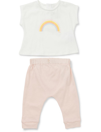 Girls 2 Piece Set With Tee And Trousers (3-18M)