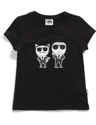 Girls Karl & Choupette Print Tee (2-6Y)