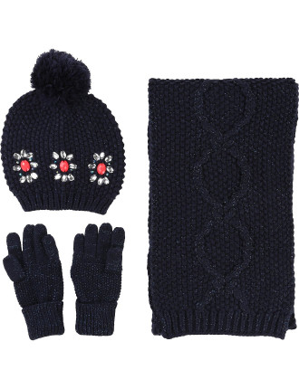 Pull On Hat, Gloves and Scarf