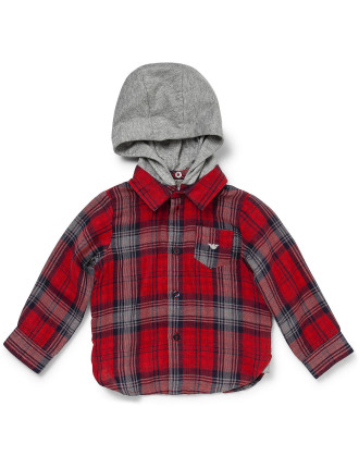 Flannel Shirt with Removable Hood