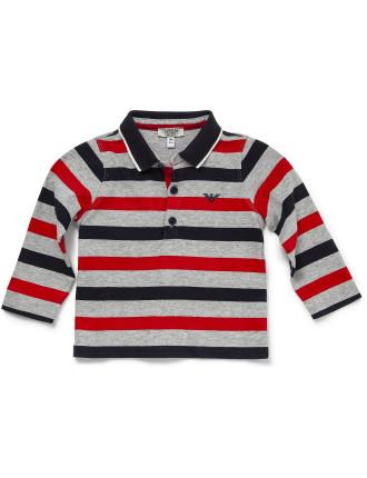 Long Sleeve Striped Polo