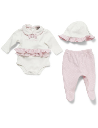 Boxed Set - Frill Romper with Pants and Hat