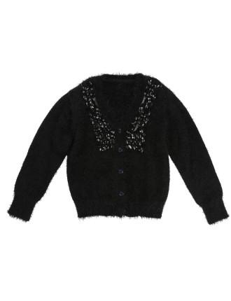 Ceremonie Knitted Hairy Black Cardigan