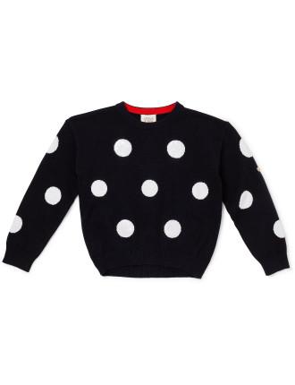 Polka Dot Knit Pullover