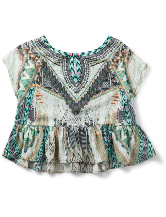 WEAVE ON OVERSIZED WOVEN TOP (4Y - 10Y)