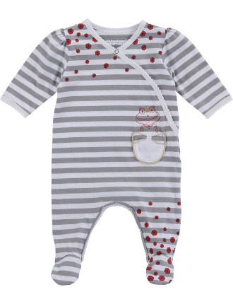 Stripe Footed Overalls With Flower Print
